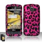 Hard Rubber Feel Design Case for LG Optimus S/U/V - Pink Leopard