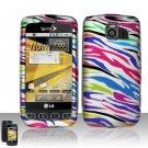 Hard Rubber Feel Design Case for LG Optimus S/U/V - Colorful Zebra