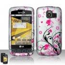 Hard Rubber Feel Design Case for LG Optimus S/U/V - Pink Garden