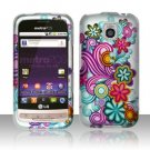 Hard Rubber Feel Design Case for LG Optimus M/C - Purple Blue Flowers