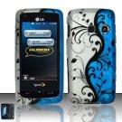 Hard Rubber Feel Design Case for LG Rumor Touch/Banter Touch (Sprint/MetroPCS) - Blue Vines