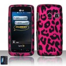 Hard Rubber Feel Design Case for LG Rumor Touch/Banter Touch (Sprint/MetroPCS) - Pink Leopard