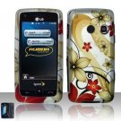 Hard Rubber Feel Design Case for LG Rumor Touch/Banter Touch (Sprint/MetroPCS) - Red Flowers