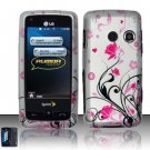 Hard Rubber Feel Design Case for LG Rumor Touch/Banter Touch (Sprint/MetroPCS) - Pink Garden