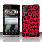 Hard Rubber Feel Design Case for Motorola Droid 3 (Verizon) - Pink Leopard