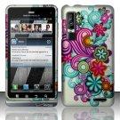 Hard Rubber Feel Design Case for Motorola Droid 3 (Verizon) - Purple Blue Flowers
