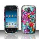 Hard Rubber Feel Design Case for Samsung Exhibit 4G - Purple Blue Flowers