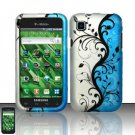 Hard Rubber Feel Design Case for Samsung Vibrant/Galaxy S T959 - Blue Vines