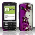 Hard Rubber Feel Design Case for Samsung Replenish M580 - Purple Vines