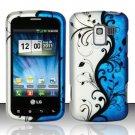 Hard Rubber Feel Design Case for LG Enlighten/Optimus Slider - Blue Vines