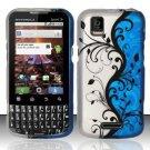 Hard Rubber Feel Design Case for Motorola XPRT MB612 (Sprint) - Blue Vines