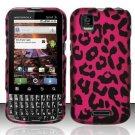 Hard Rubber Feel Design Case for Motorola XPRT MB612 (Sprint) - Pink Leopard