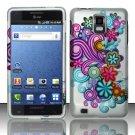 Hard Rubber Feel Design Case for Samsung Infuse 4G - Purple Blue Flowers