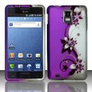 Hard Rubber Feel Design Case for Samsung Infuse 4G - Purple Vines