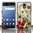Hard Rubber Feel Design Case for Samsung Infuse 4G - Red Flowers