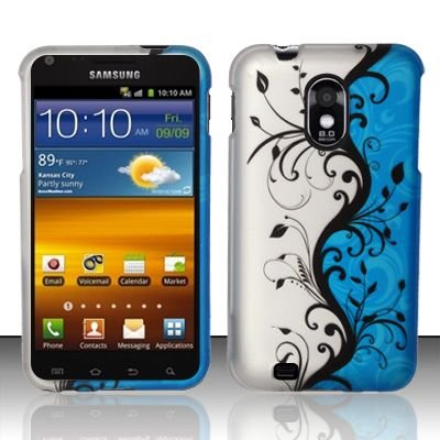 Hard Rubber Feel Design Case for Samsung Epic Touch 4G/Galaxy S2 (Sprint) - Blue Vines
