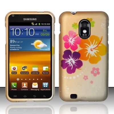 Hard Rubber Feel Design Case for Samsung Epic Touch 4G/Galaxy S2 (Sprint) - Colorful Flowers