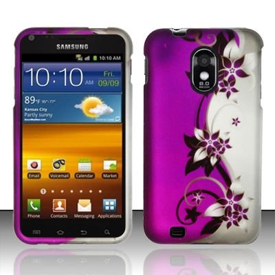 Hard Rubber Feel Design Case for Samsung Epic Touch 4G/Galaxy S2 (Sprint) - Purple Vines