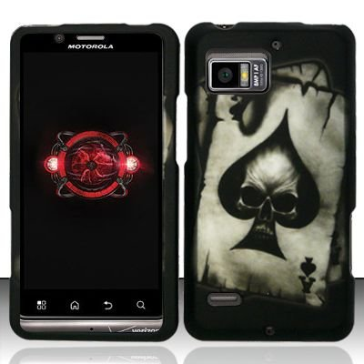 Hard Rubber Feel Design Case for Motorola Droid Bionic 4G XT875 (Verizon) - Spade Skull