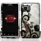 Hard Rubber Feel Design Case for Motorola Droid Bionic 4G XT875 (Verizon) - Black Vines