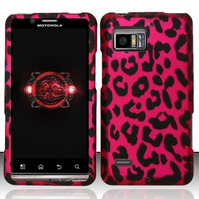 Hard Rubber Feel Design Case for Motorola Droid Bionic 4G XT875 (Verizon) - Pink Leopard