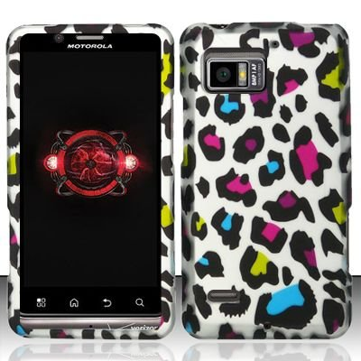 Hard Rubber Feel Design Case for Motorola Droid Bionic 4G XT875 (Verizon) - Colorful Leopard
