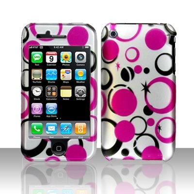 Hard Rubber Feel Design Case for Apple iPhone 3G/3Gs - Pink Dots