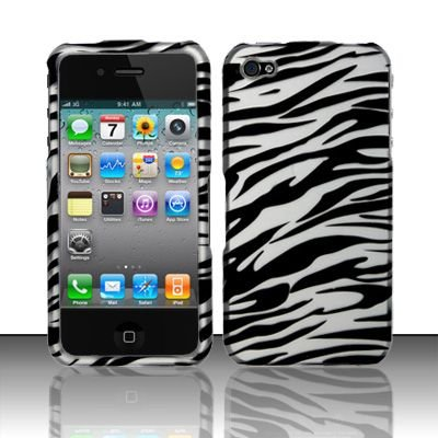Hard Rubber Feel Design Case for Apple iPhone 4/4S - Silver Zebra