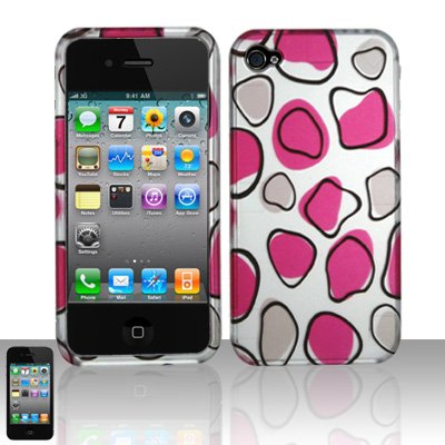 Hard Rubber Feel Design Case for Apple iPhone 4/4S - Pink Pebbles