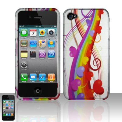 Hard Rubber Feel Design Case for Apple iPhone 4/4S - Rainbow Hearts