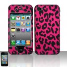 Hard Rubber Feel Design Case for Apple iPhone 4/4S - Pink Leopard