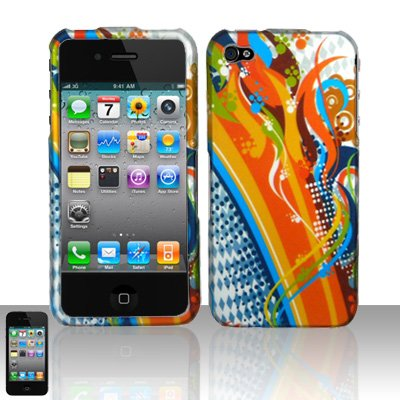 Hard Rubber Feel Design Case for Apple iPhone 4/4S - Orange Rainbows