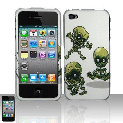 Hard Rubber Feel Design Case for Apple iPhone 4/4S - Goofy Skulls