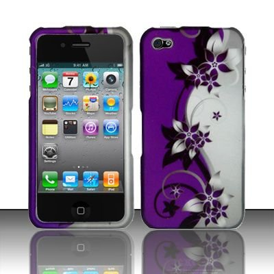 Hard Rubber Feel Design Case for Apple iPhone 4/4S - Purple Vines
