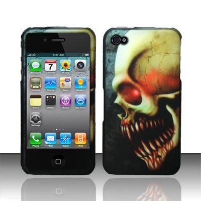 Hard Rubber Feel Design Case for Apple iPhone 4/4S - Barbaric Skull