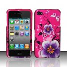 Hard Rubber Feel Design Case for Apple iPhone 4/4S - Hibiscus Flowers