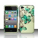 Hard Rubber Feel Design Case for Apple iPhone 4/4S - Azure Flowers