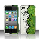 Hard Rubber Feel Design Case for Apple iPhone 4/4S - Green Black Vines