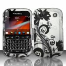 Hard Rubber Feel Design Case for Blackberry Bold Touch 9900/9930 - Black Vines