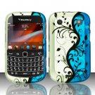 Hard Rubber Feel Design Case for Blackberry Bold Touch 9900/9930 - Blue Vines