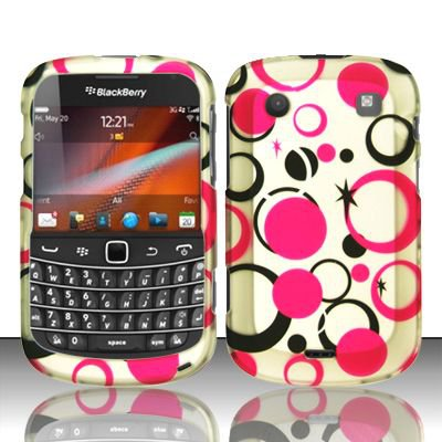 Hard Rubber Feel Design Case for Blackberry Bold Touch 9900/9930 - Pink Dots