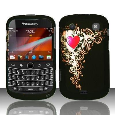 Hard Rubber Feel Design Case for Blackberry Bold Touch 9900/9930 - Royal Heart