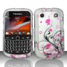 Hard Rubber Feel Design Case for Blackberry Bold Touch 9900/9930 - Pink Garden