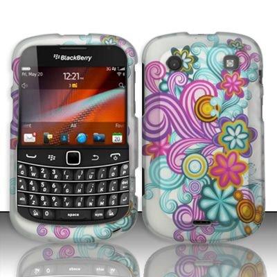 Hard Rubber Feel Design Case for Blackberry Bold Touch 9900/9930 - Purple Blue Flowers