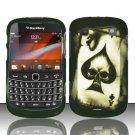 Hard Rubber Feel Design Case for Blackberry Bold Touch 9900/9930 - Spade Skull