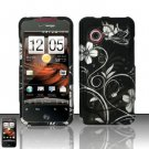 Hard Rubber Feel Design Case for HTC DROID Incredible (Verizon) - White Flowers