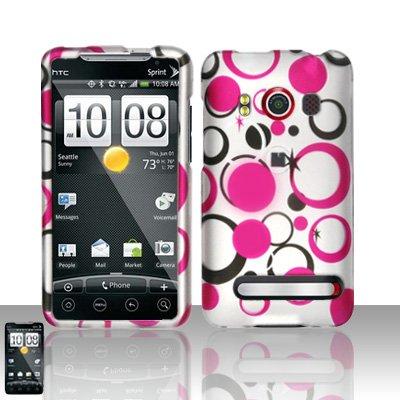 Hard Rubber Feel Design Case for HTC EVO 4G (Sprint) - Pink Dots