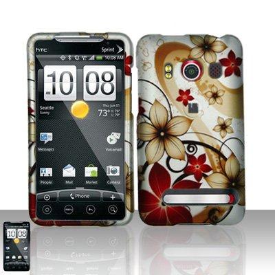 Hard Rubber Feel Design Case for HTC EVO 4G (Sprint) - Red Flowers
