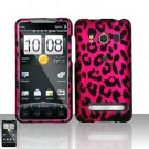 Hard Rubber Feel Design Case for HTC EVO 4G (Sprint) - Pink Leopard