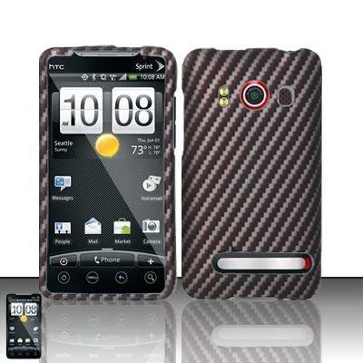 Hard Rubber Feel Design Case for HTC EVO 4G (Sprint) - Carbon Fiber V2